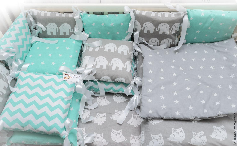 Бортики в кроватку совушки для новорожденных выкройки 69