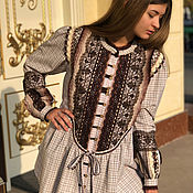 Одежда handmade. Livemaster - original item Their cotton tunic with lace and boho style decor To the jeans. Handmade.