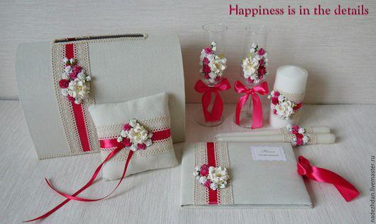 Свадебные аксессуары ручной работы. Ярмарка Мастеров - ручная работа. Купить Свадебный набор в малиновом цвете. Handmade. Фуксия