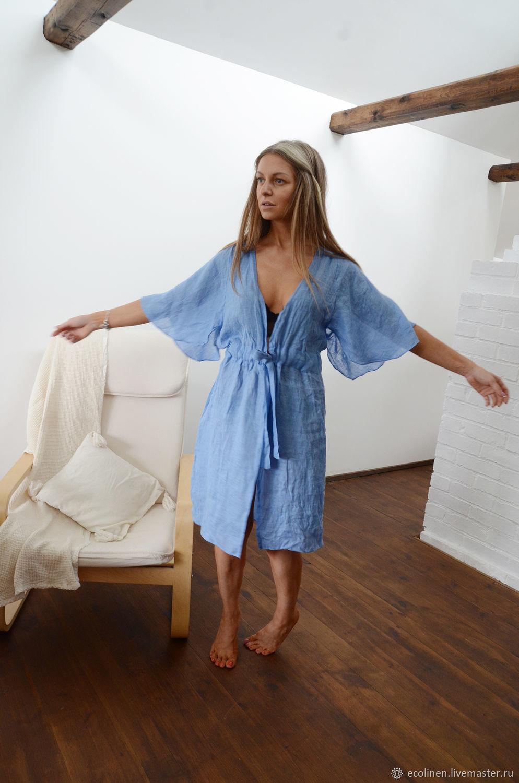 Linen Bathrobe. Summer light robe. 100% linen. Softened, Robes, Minsk,  Фото №1