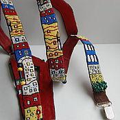 """Аксессуары ручной работы. Ярмарка Мастеров - ручная работа Подтяжки """"Hundertwasser town"""". Handmade."""