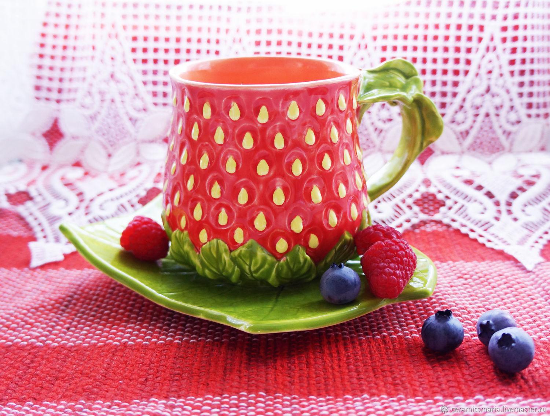Чайная пара ягодка клубника, красная чашка клубничка, Чайные пары, Мытищи,  Фото №1