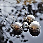 Украшения handmade. Livemaster - original item Silver earrings and pendant set with natural pearls. Handmade.