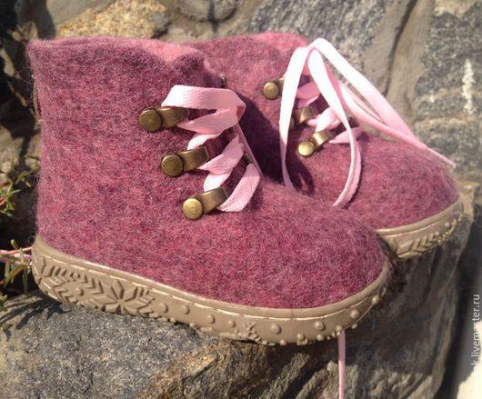 Обувь ручной работы. Ярмарка Мастеров - ручная работа. Купить Ботинки валяные Бордовый меланж. Handmade. Бордовый