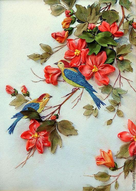 Картины цветов ручной работы. Ярмарка Мастеров - ручная работа. Купить Картина вышитая лентами.. Handmade. Комбинированный, миниатюра