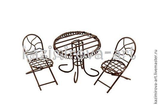 Куклы и игрушки ручной работы. Ярмарка Мастеров - ручная работа. Купить Металлическая мини мебель коричневая - стол и два стула. Handmade.