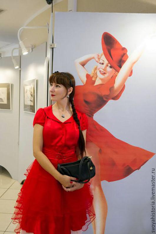 Платья ручной работы. Ярмарка Мастеров - ручная работа. Купить Платье нарядное в стиле Диор. Handmade. Ярко-красный, шёлк