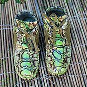 Обувь ручной работы handmade. Livemaster - original item Boots for men Moccasin leather with suede python print Salad with khak. Handmade.