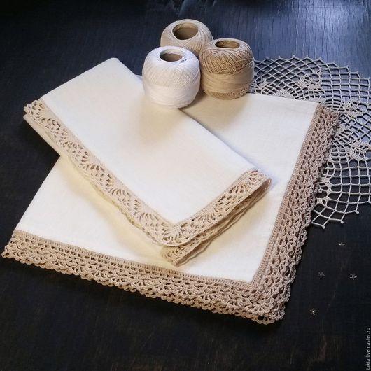 Текстиль, ковры ручной работы. Ярмарка Мастеров - ручная работа. Купить Салфетки льняные. Handmade. Салфетка, салфетка крючком, подарок