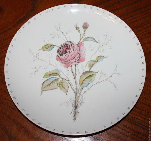 Винтажные предметы интерьера. Ярмарка Мастеров - ручная работа. Купить Очаровательная тарелка с розой,  ручная роспись, ботаника, Германия. Handmade.