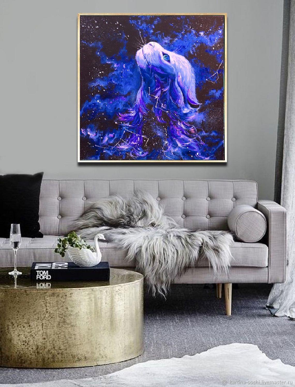 Картина на черном фоне с кошкой Абстракция космос, Картины, Сочи,  Фото №1