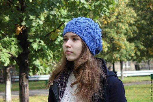 шапка вязаная, шапка женская, шапка с косами, шапка спицами