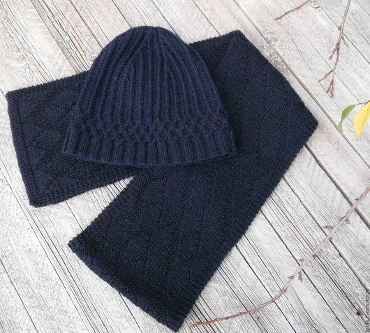 Комплекты аксессуаров ручной работы. Ярмарка Мастеров - ручная работа. Купить Темно-синий комплект из мериноса - шапка, шарф, демисезон. Handmade.