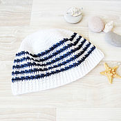 Аксессуары handmade. Livemaster - original item Children`s Panama hat knitted Panama for boy white with blue stripes. Handmade.