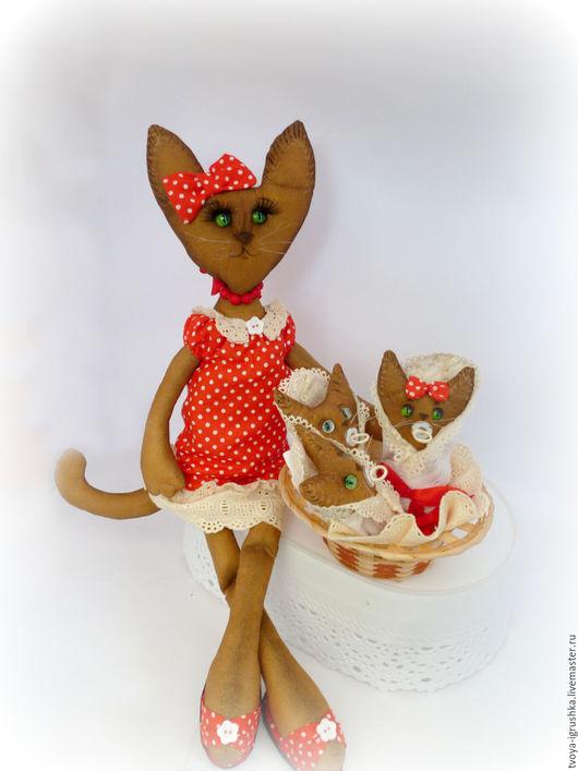 Игрушки животные, ручной работы. Ярмарка Мастеров - ручная работа. Купить Мама-кошка. Handmade. Ярко-красный, котята в корзинке