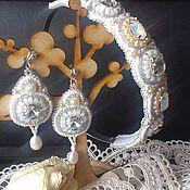 Украшения ручной работы. Ярмарка Мастеров - ручная работа Серьги с кристаллами + ободок для волос. Handmade.