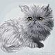 """Вышивка ручной работы. Ярмарка Мастеров - ручная работа. Купить Схема вышивки крестом """"Серый котёнок"""". Handmade. Вышивка крестом"""