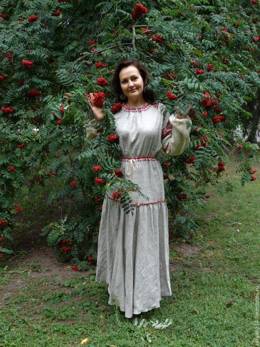 Платья ручной работы. Ярмарка Мастеров - ручная работа. Купить Повседневное платье  с орнаментом. Handmade. Серый, льняное платье