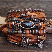 Украшения handmade. Livemaster - original item Boho-chic bracelet with jasper and bull`s eye