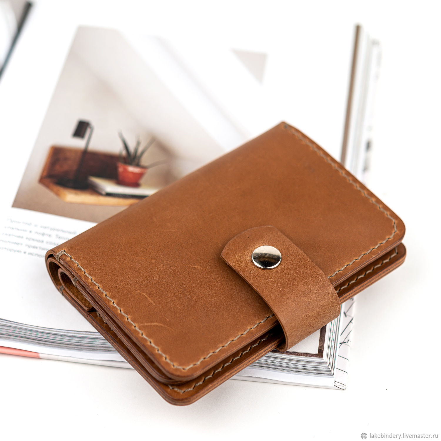 Wallet made of genuine leather with 9 compartments sewn by hand, Purse, Moscow,  Фото №1