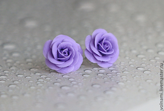 """Серьги ручной работы. Ярмарка Мастеров - ручная работа. Купить """"Розы"""" серьги-гвоздики. Handmade. Фиолетовый, запекаемая пластика"""