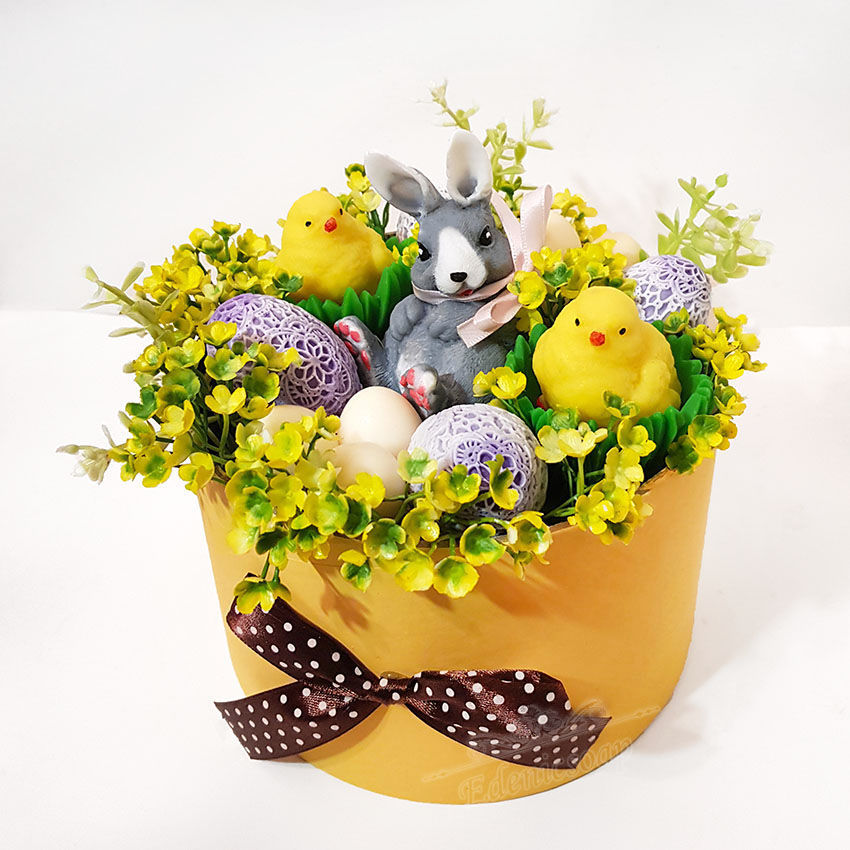 Soap bouquet Easter planters as a gift for Easter eggs rabbit and chicks, Soap, Moscow,  Фото №1