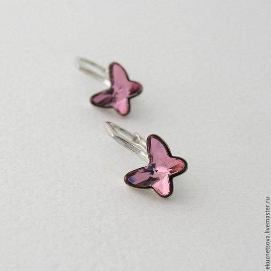 """Серьги ручной работы. Ярмарка Мастеров - ручная работа. Купить Серьги """"Butterfly"""" mini (antique pink) со Сваровски. Handmade."""