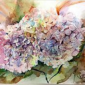Pictures handmade. Livemaster - original item Crystal hydrangea Watercolor. Handmade.