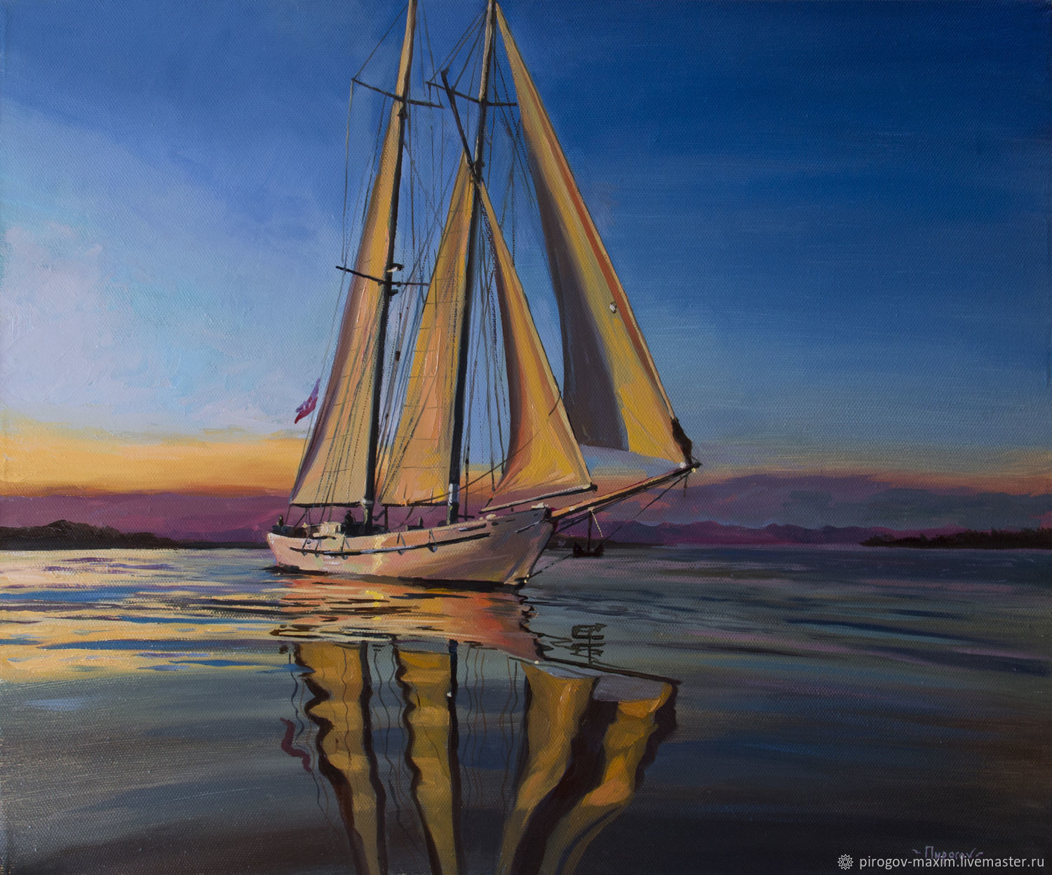 `Sailboat at sunset` - a picture I executed with oil paints on linen canvas
