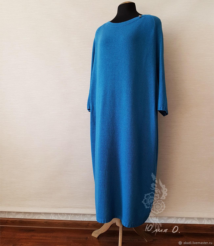 Готовая работа! Платье вязаное, свободное, цвет петроль, Платья, Челябинск, Фото №1