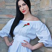"""Одежда ручной работы. Ярмарка Мастеров - ручная работа Белая блуза с открытыми плечами """"Красная роза"""" нарядная блуза хлопок. Handmade."""
