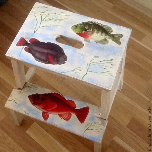 Мебель ручной работы. Ярмарка Мастеров - ручная работа. Купить Табурет-лестница Рыбы в изобилии. Handmade. Разноцветный, ручная работа