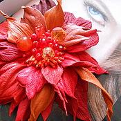 """Украшения ручной работы. Ярмарка Мастеров - ручная работа Брошь из кожи """"Костер"""". Handmade."""