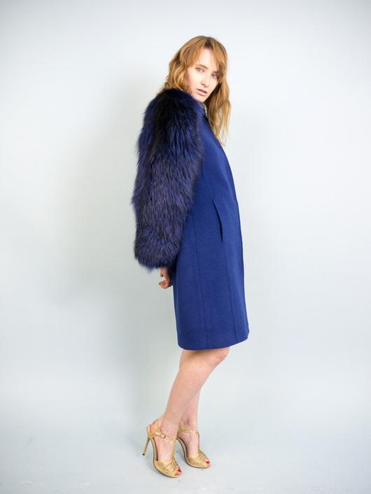 """Верхняя одежда ручной работы. Ярмарка Мастеров - ручная работа. Купить Пальто """"Кашемир синий"""". Handmade. Синий"""