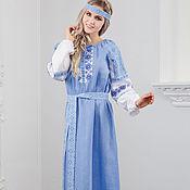 Русский стиль handmade. Livemaster - original item Dress linen Burdock happiness Russian folk. Handmade.