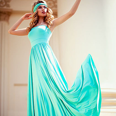 Одежда ручной работы. Ярмарка Мастеров - ручная работа Мятное платье-бандо. Handmade.