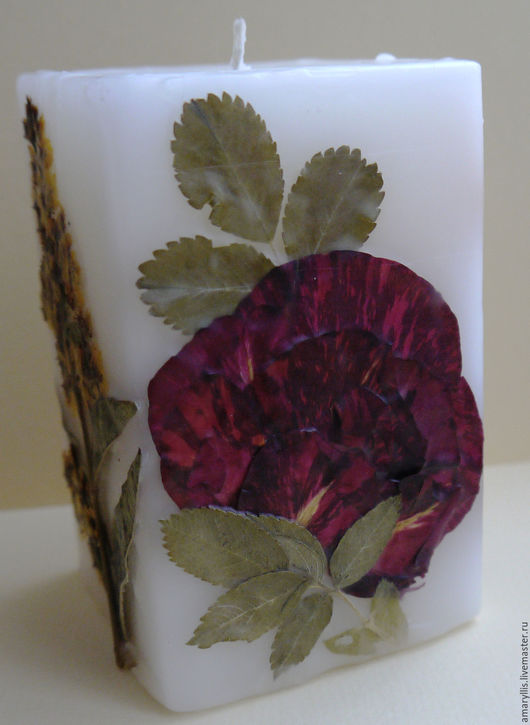 """Свечи ручной работы. Ярмарка Мастеров - ручная работа. Купить Свеча """"Роза"""". Handmade. Ярко-красный, свеча с цветами, сухоцветы"""