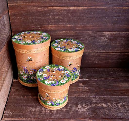 """Посуда ручной работы. Ярмарка Мастеров - ручная работа. Купить Набор баночек """"Пчелы на лугу"""" (с мышиным горошком). Handmade."""