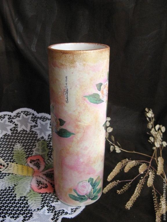 Ваза керамическая декупаж Магнолии на розовом