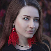 Украшения handmade. Livemaster - original item Red feather earrings. Scarlet earrings with ostrich feathers. Handmade.