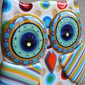 """Для дома и интерьера ручной работы. Ярмарка Мастеров - ручная работа статуэтка """"Совушка"""", стекло,фьюзинг. Handmade."""