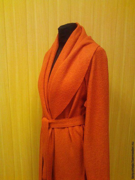 Верхняя одежда ручной работы. Ярмарка Мастеров - ручная работа. Купить Лёгкое пальто-кардиган из лодена с поясом. Handmade. Рыжий