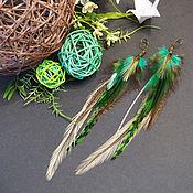 Украшения ручной работы. Ярмарка Мастеров - ручная работа Зеленая птица - яркие зелёные серьги с перьями в стиле бохо. Handmade.