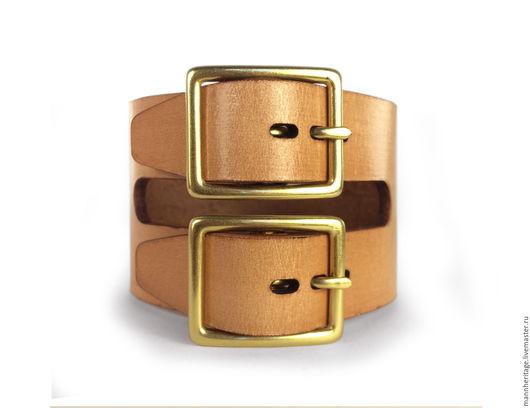 Браслеты ручной работы. Ярмарка Мастеров - ручная работа. Купить Кожаный браслет DOUBLE BUCKLE - натуральный. Handmade. Натуральная кожа
