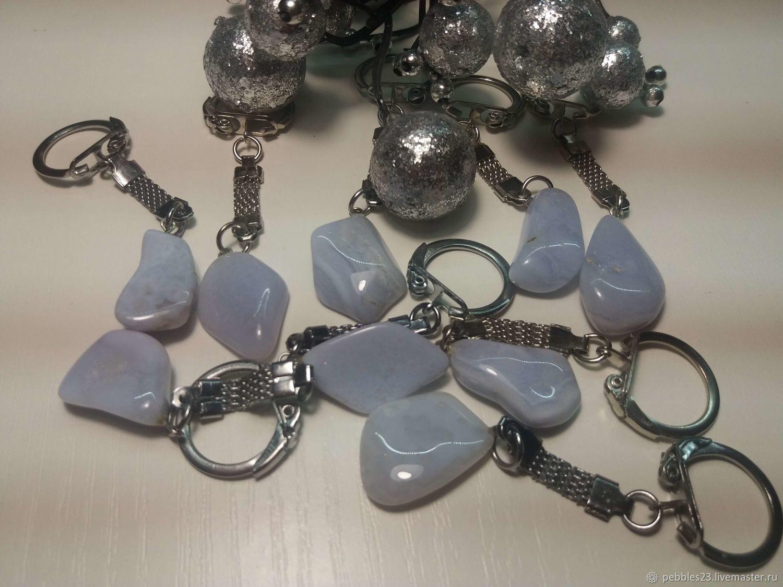 Брелок для ключей из Агата голубого (сапфирина)