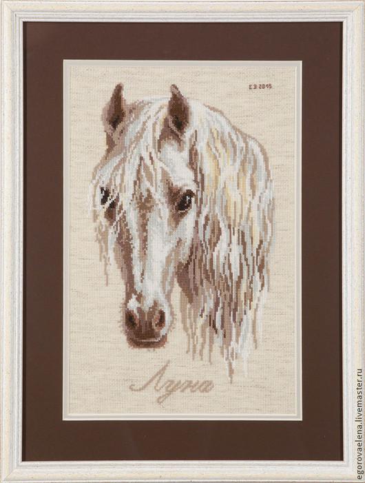 """Животные ручной работы. Ярмарка Мастеров - ручная работа. Купить """"Луна"""". Handmade. Коричневый, лошадь, вышивка, Вышивка крестом"""