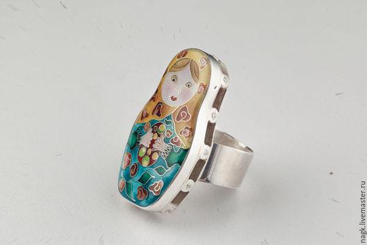 Кольца ручной работы. Ярмарка Мастеров - ручная работа. Купить Кольцо Матрешка (серебро и эмаль). Handmade. Ярко-красный, подарок
