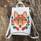 Сумки и аксессуары handmade. Livemaster - original item Leather backpack with hand-painted Red Fox. Handmade.
