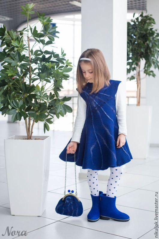 Одежда для девочек, ручной работы. Ярмарка Мастеров - ручная работа. Купить Валяное платье для девочек Синий иней. Handmade. Синий
