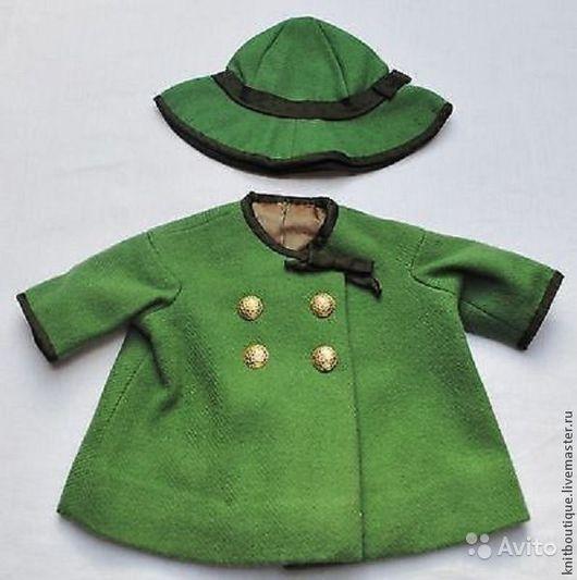 Винтажные куклы и игрушки. Ярмарка Мастеров - ручная работа. Купить Антикварный комплект для куклы пальто и шляпка. Франция.. Handmade. Зеленый